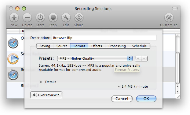 WireTap Recording Sessions Format Tab